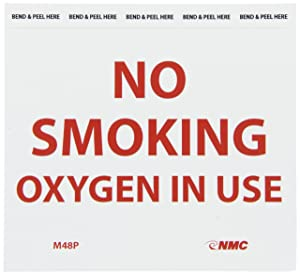 NMC M48P NO SMOKING - OXYGEN IN USE Sign - 6 in. x 5 in. Pressure Sensitive Vinyl Sign with Red Text on White Base