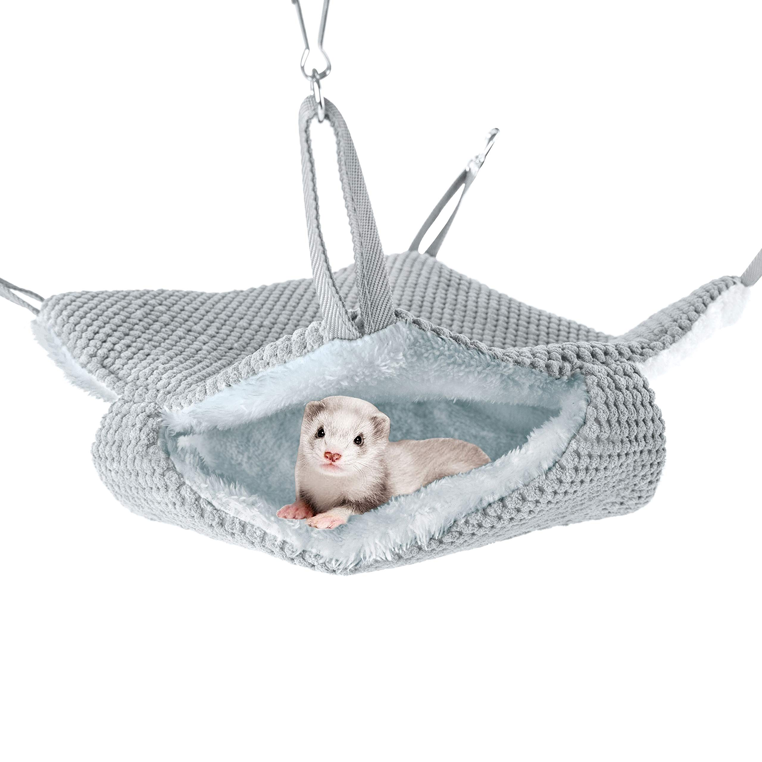Niteangel Pet Hammock Swing Snuggle Sack for Ferret Rats Suger Glider Squirrels - Napping Bed Pocket (Grey) by Niteangel
