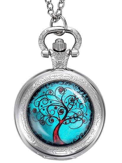 Reloj de Bolsillo de Árbol de Vida, Regalo de Navidad para Madre, Novia, Damas de Honor, Boda, Plateado: Amazon.es: Relojes