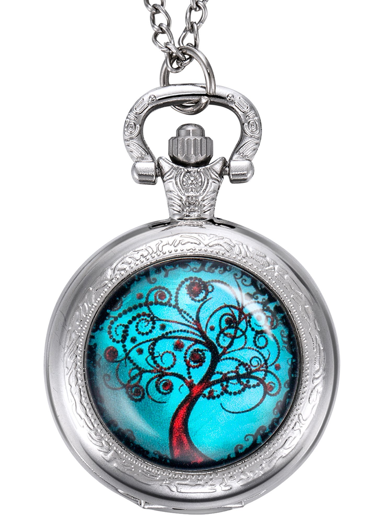 Hicarer Life Tree Pocket Watch, Christmas Gifts for Mother, Bride, Bridesmaids, Wedding, Silver