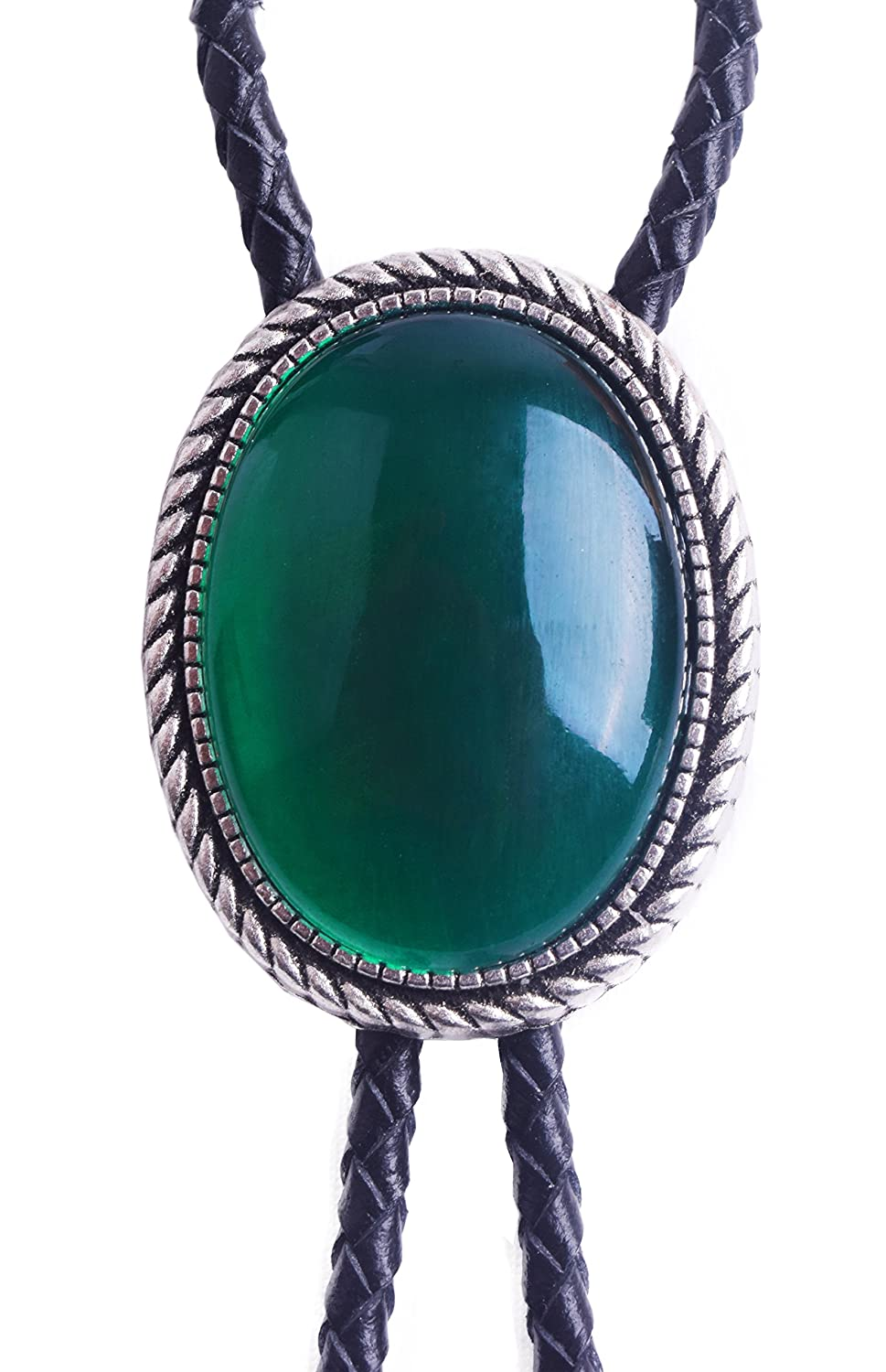 Bolo Tie with Emerald and Turquoise Stone Celtic Style Genuine and Cowhide Rope Yuanmo CAABT006
