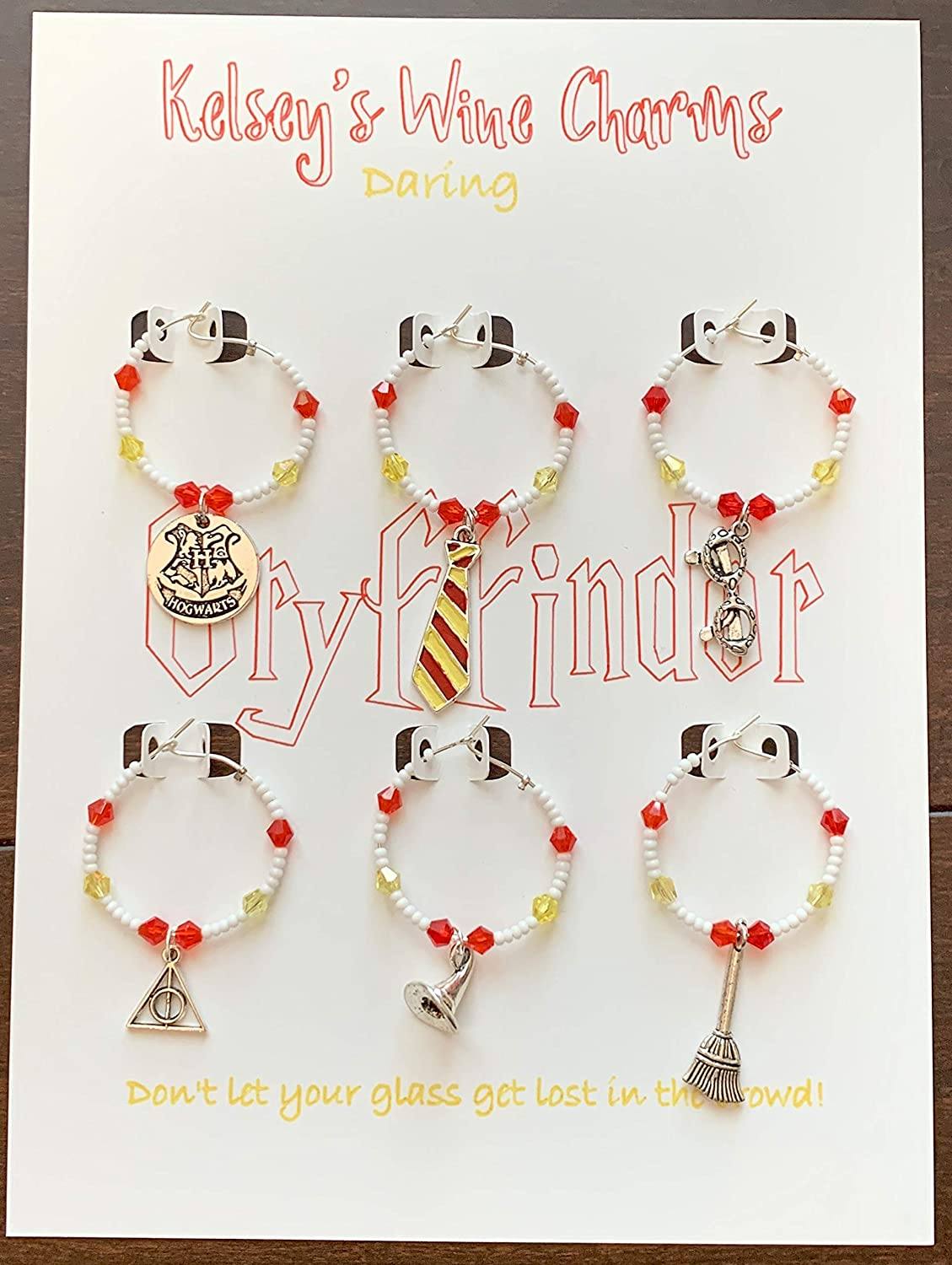 Gryffindor Harry Potter Themed Wine Glass Charms