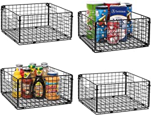 """X-cosrack Foldable Cabinet Wall Mount Metal Wire Basket Organizer with Handles - 4 Pack, 12"""" x 12"""" X 6""""Farmhouse Food Storage Mesh Bin for Kitchen Pantry Bathroom Laundry Closet Garage Patent Applied"""