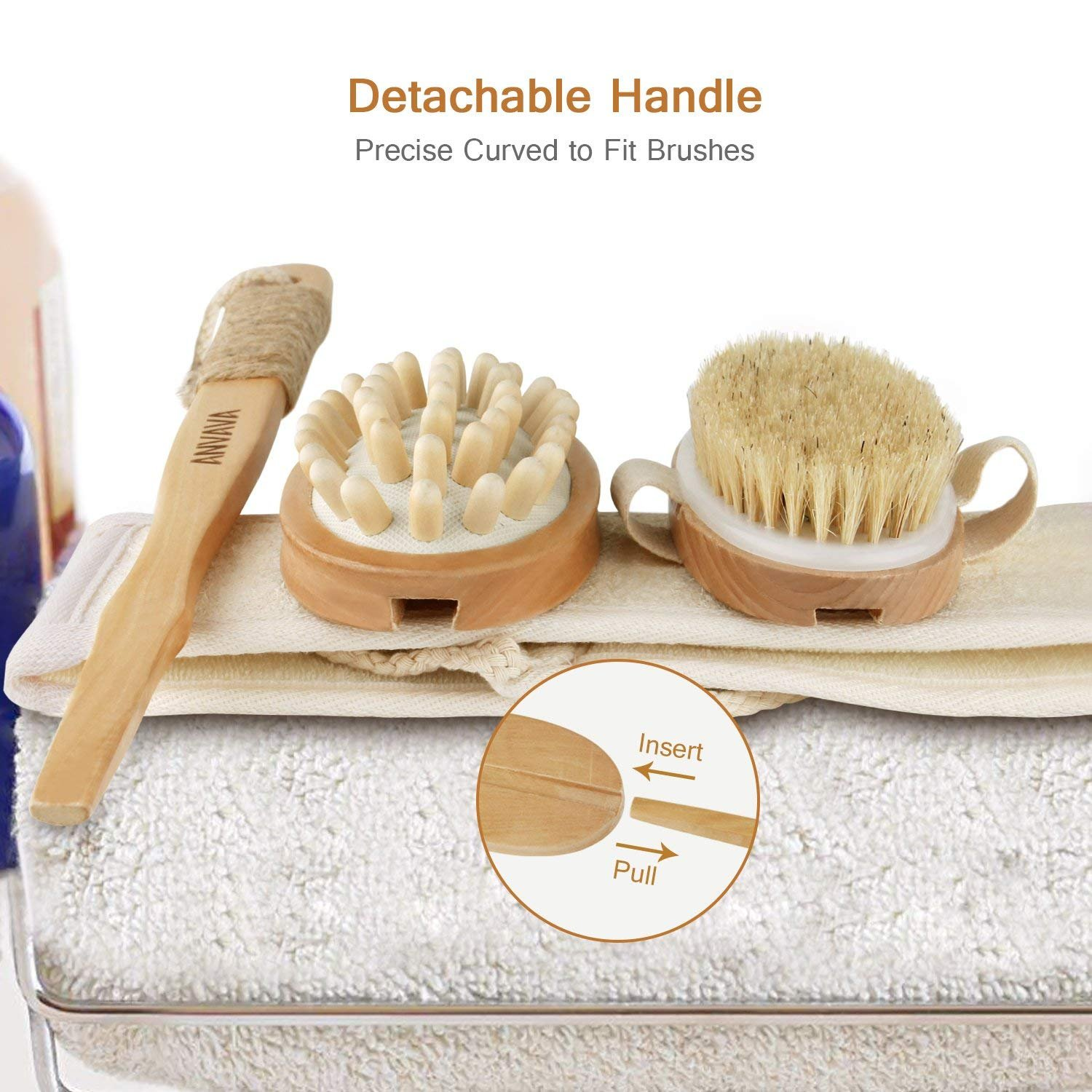 ANVAVA Dry Body Brush Set with 100% Natural Boar Bristles Back Scrubber, Cellulite Massager, Konjac Face Sponge and Loofah Shower Strip