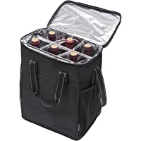 6 Bottle Wine Carrier - Insulated & Padded Wine Carrying Cooler Tote Bag with Handle and Adjustable Shoulder Strap for…
