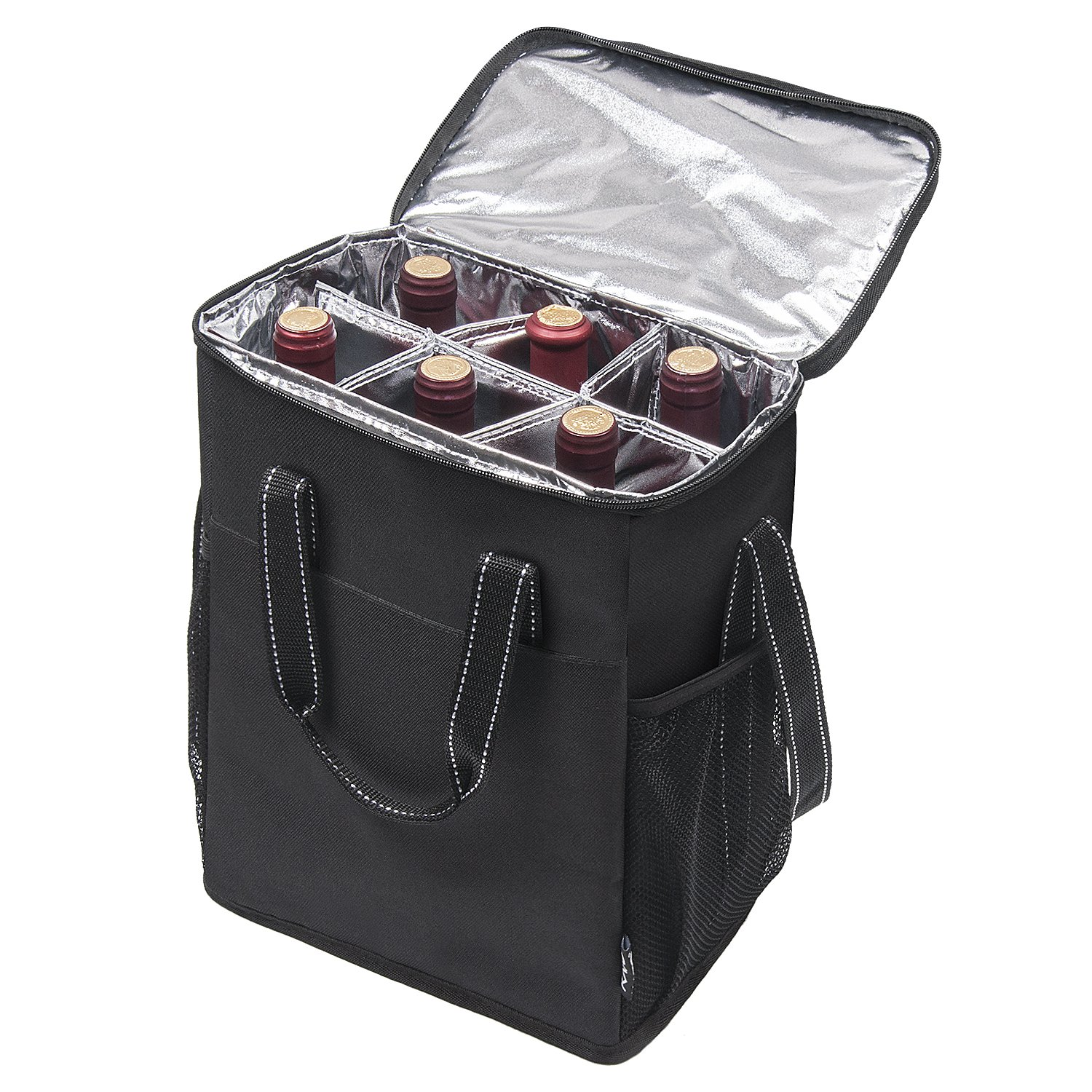 Kato 6 Bottle Wine Carrier - Insulated Portable Wine Carry Cooler Tote Bag for Travel or Picnic, Perfect Wine Lover Gift, Black