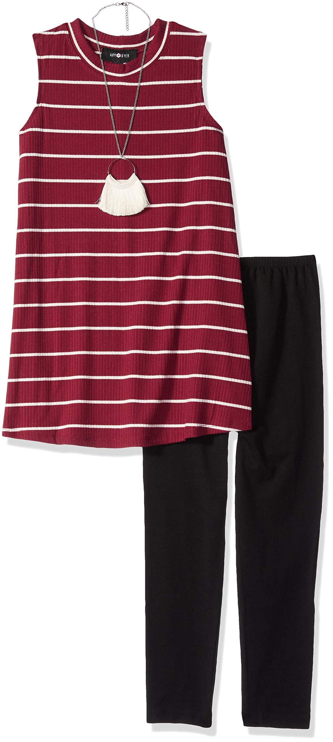 Amy Byer Big Girls' Sleeveless Tunic and Legging Outfit Set, Boho Plum, L