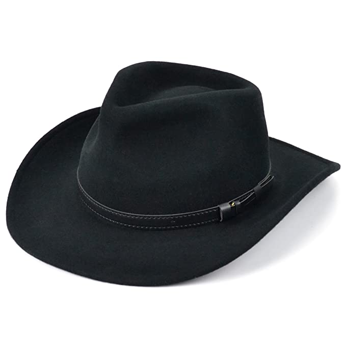 bad98b3a6b209 Fedora wool felt hat black waterproof with faux leather band (59cm)   Amazon.co.uk  Clothing