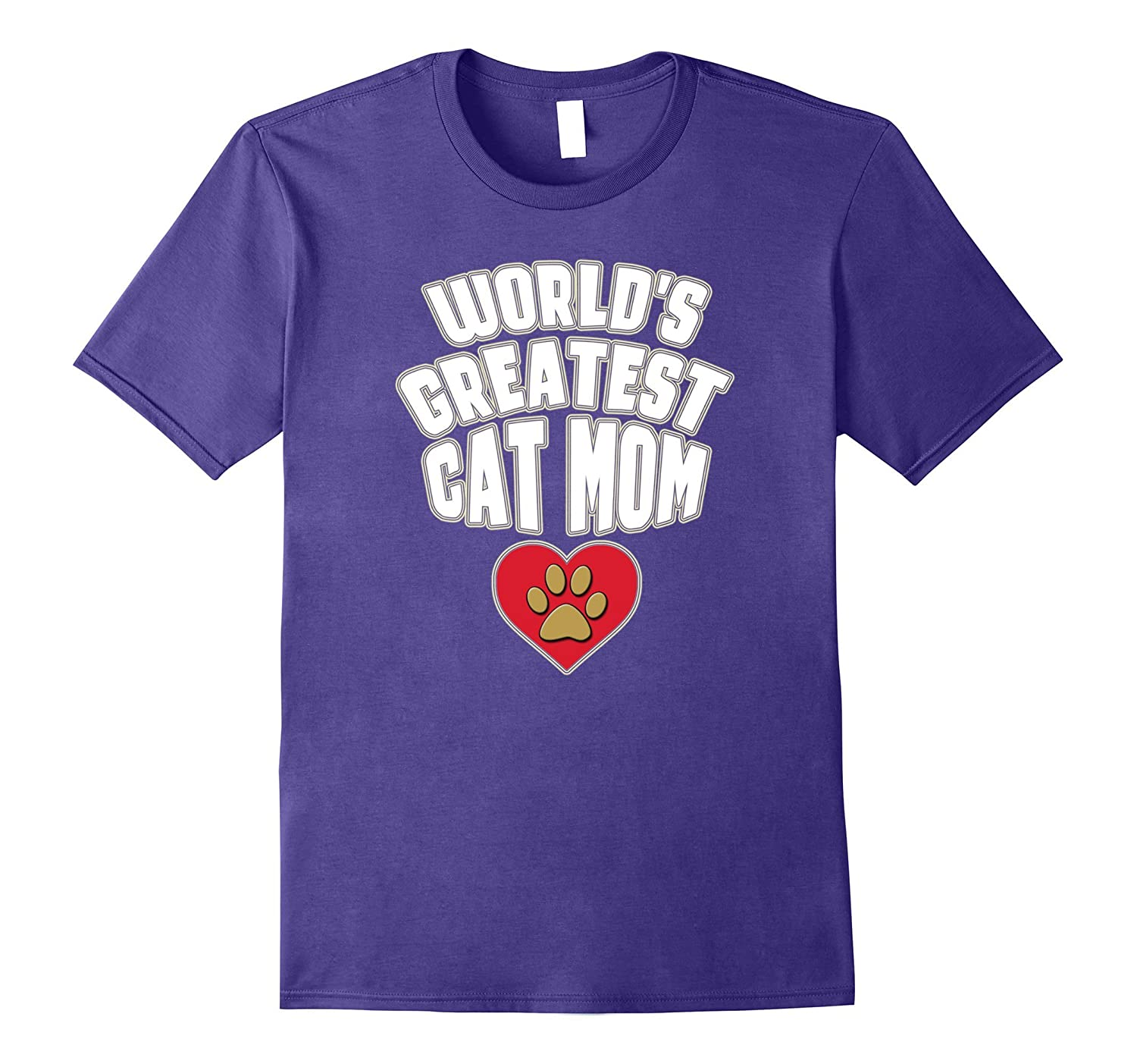 World's Greatest Cat Mom Paw Heart Mother's Day T Shirt-Art