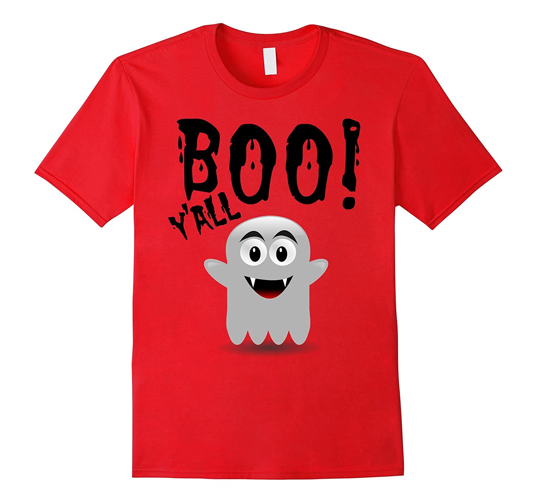 Boo Y'All Halloween T-Shirt Ghost Costume Black-FL