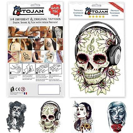 Tatouage Temporaire Tete De Mort Mexicaine Santa Muerte Femme