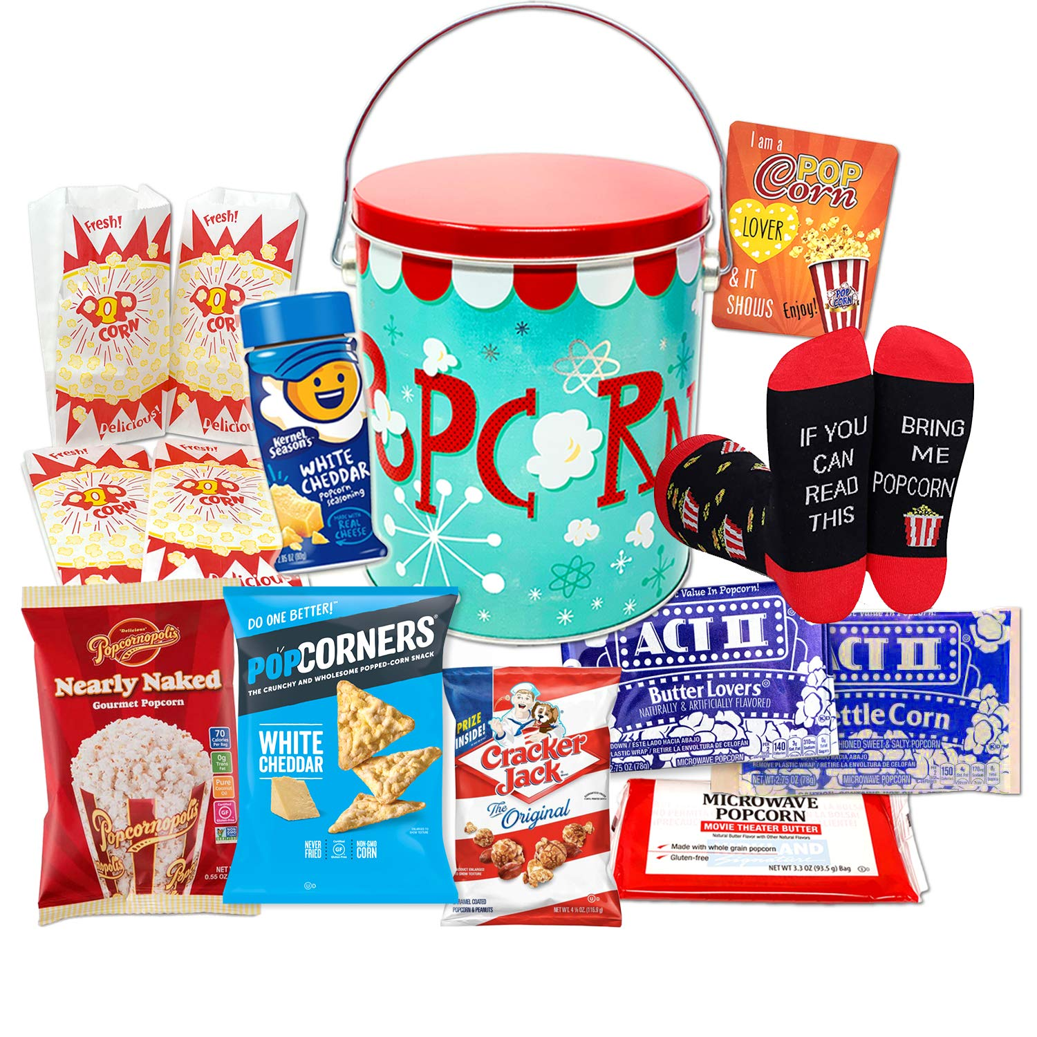 Perfect POPCORN LOVER Movie Night Snacks Gift Basket box | w/ Socks, Tin Popcorn Variety, Microwavable bags, Seasoning | Care Package Birthday for Kids, Family, College, Valentine's, quarantine gift