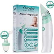 Chibello Baby Nasal Aspirator-Provides Safe Nose Suction and Gently Clears Infant's Mucus. Battery Operated with 3 sizes of Silicone Tips and Manual Snot Booger Sucker and Remover for Newborns, Babies