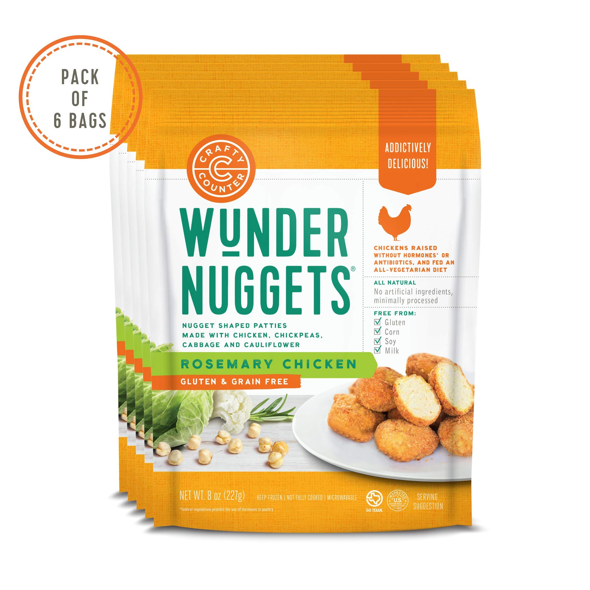 Pack of 6 Bags - Gluten & Grain Free Rosemary Chicken Wundernuggets