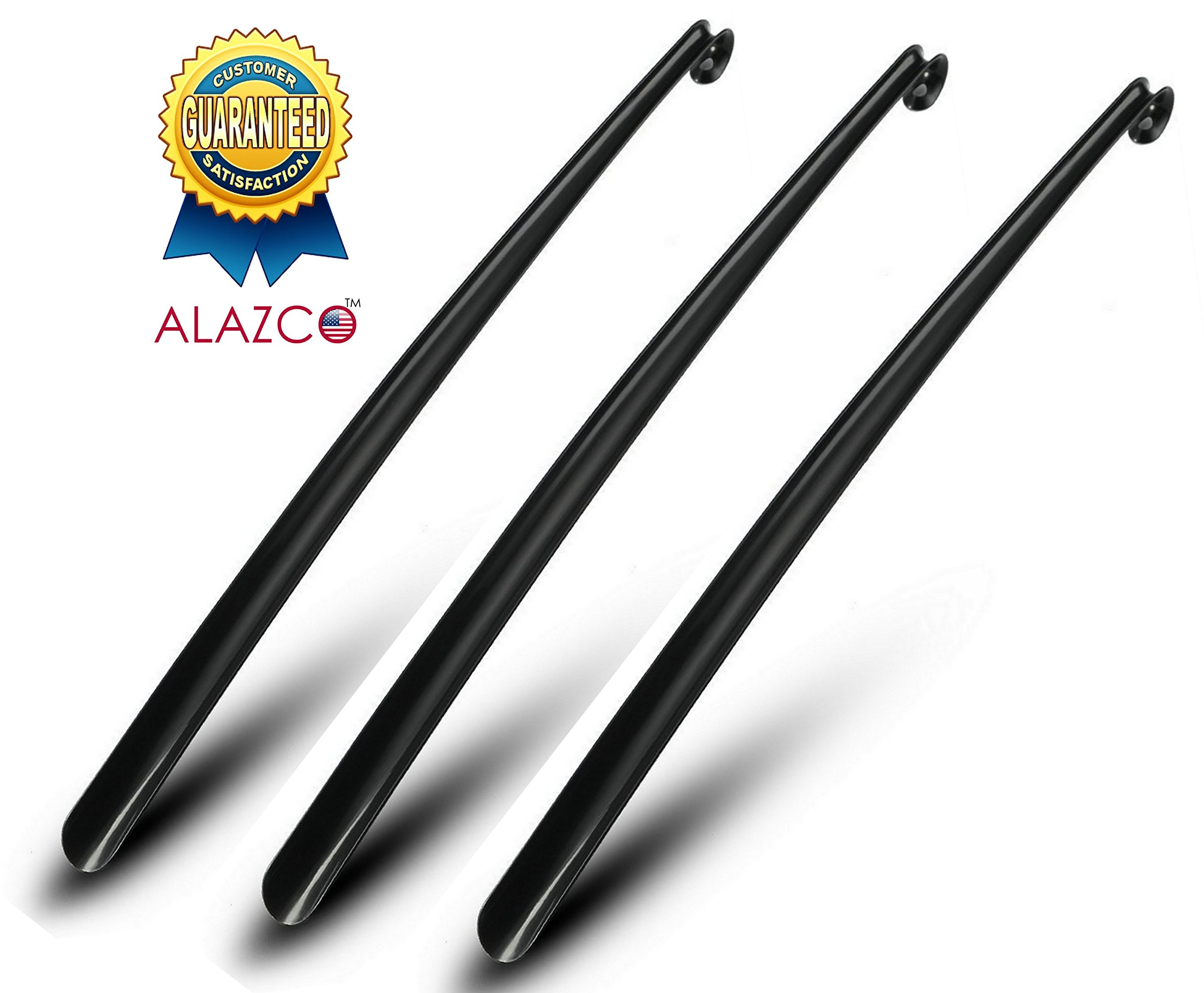 3 Premium Quality Alazco Shoe Horns Easy-Grip 30'' Extra Long Handle Shoehorns Arm Extender Back Saver - Black