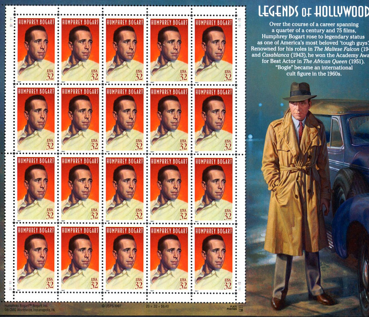 Humphrey Bogart Legends of Hollywood Collectible Sheet of 20 32 Cent Stamps by USPS