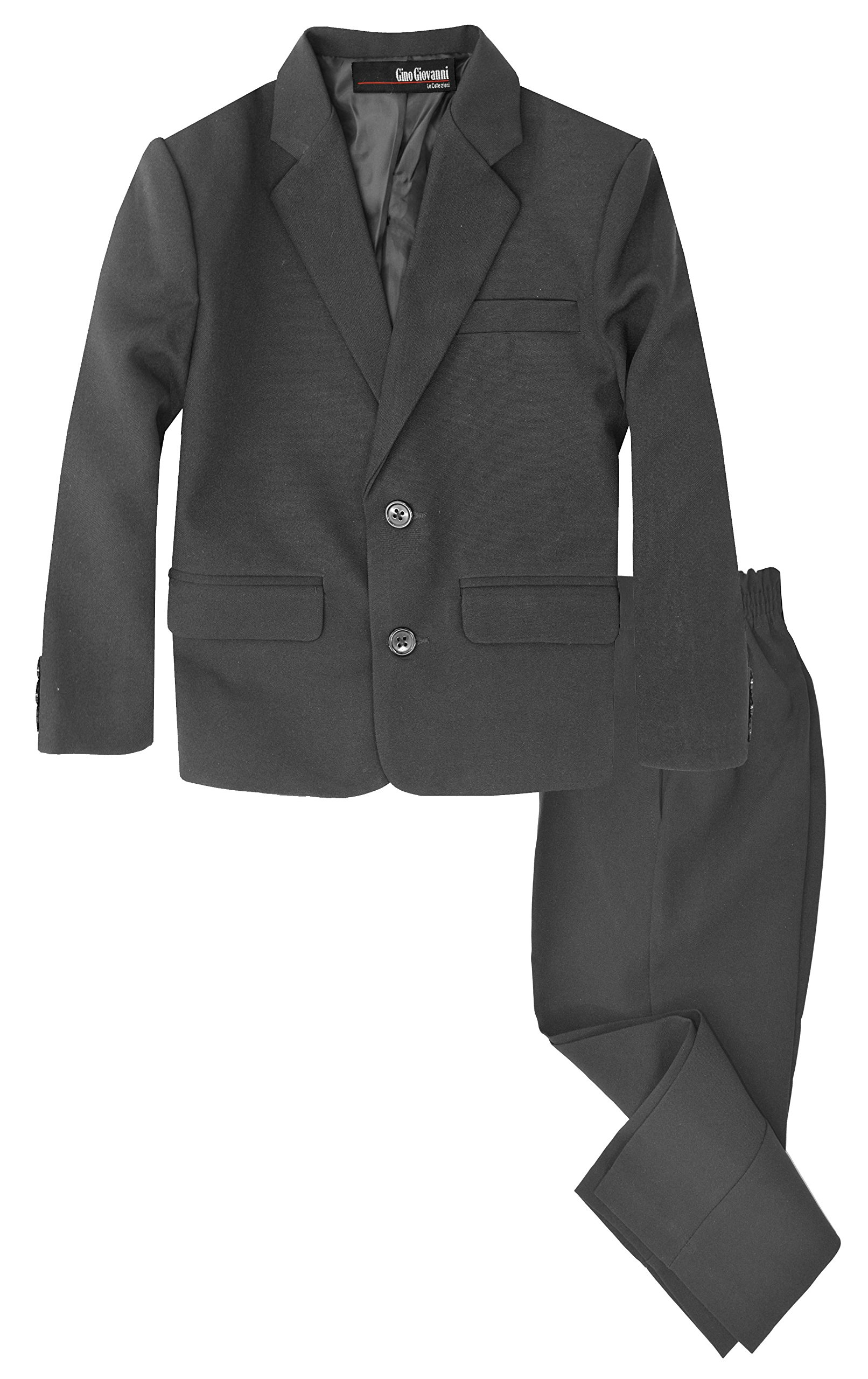 G218 Boys 2 Piece Suit Set Toddler to Teen (8, Charcoal) by Gino Giovanni