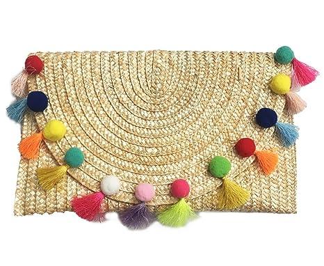 abb8a06f6352 Amazon.com  Straw Pom Pom and Tassel Clutch - Fashion Bag for Summer ...