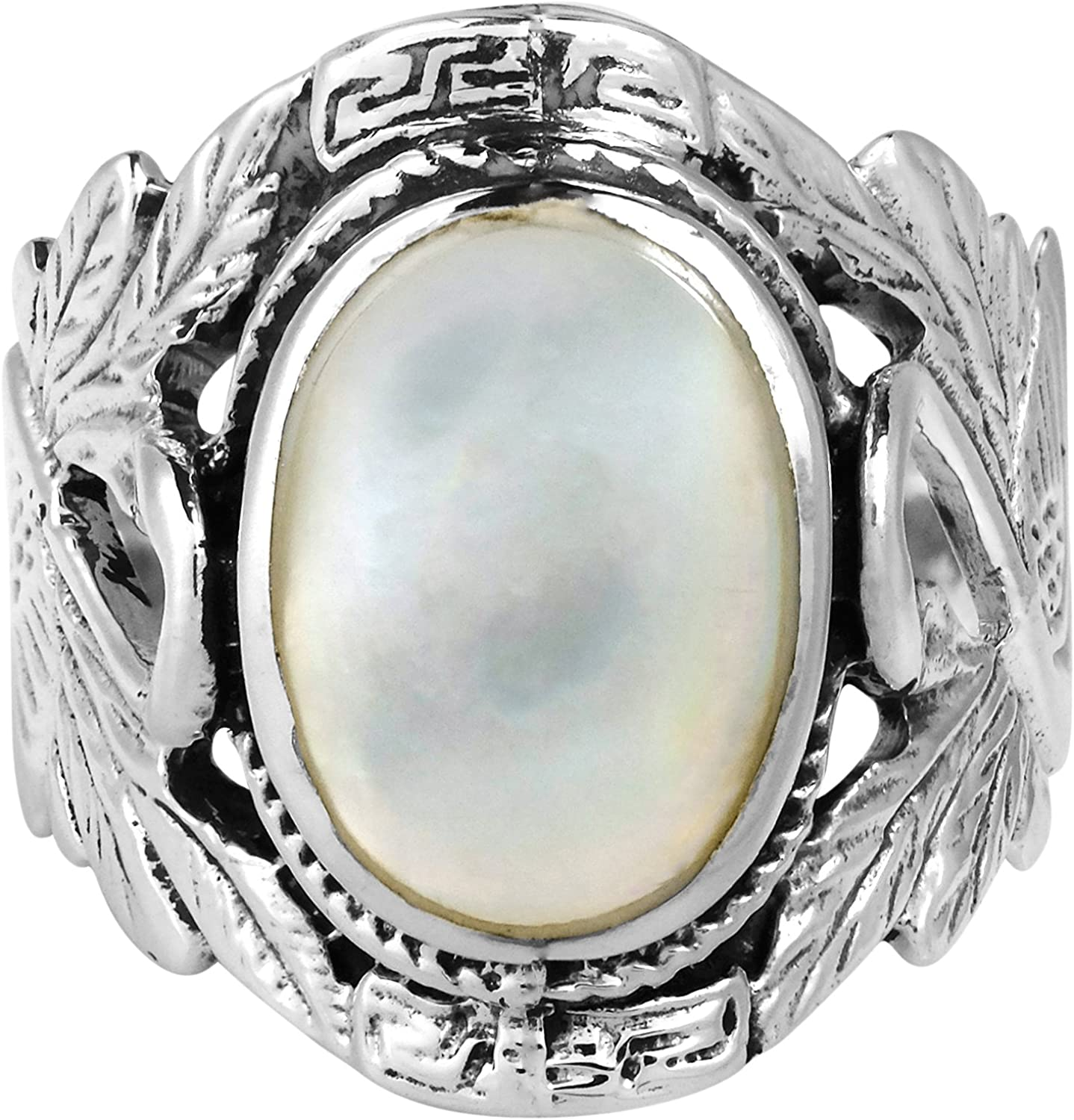 AeraVida Beautiful Couple Swan Oval White Mother of Pearl .925 Sterling Silver Ring