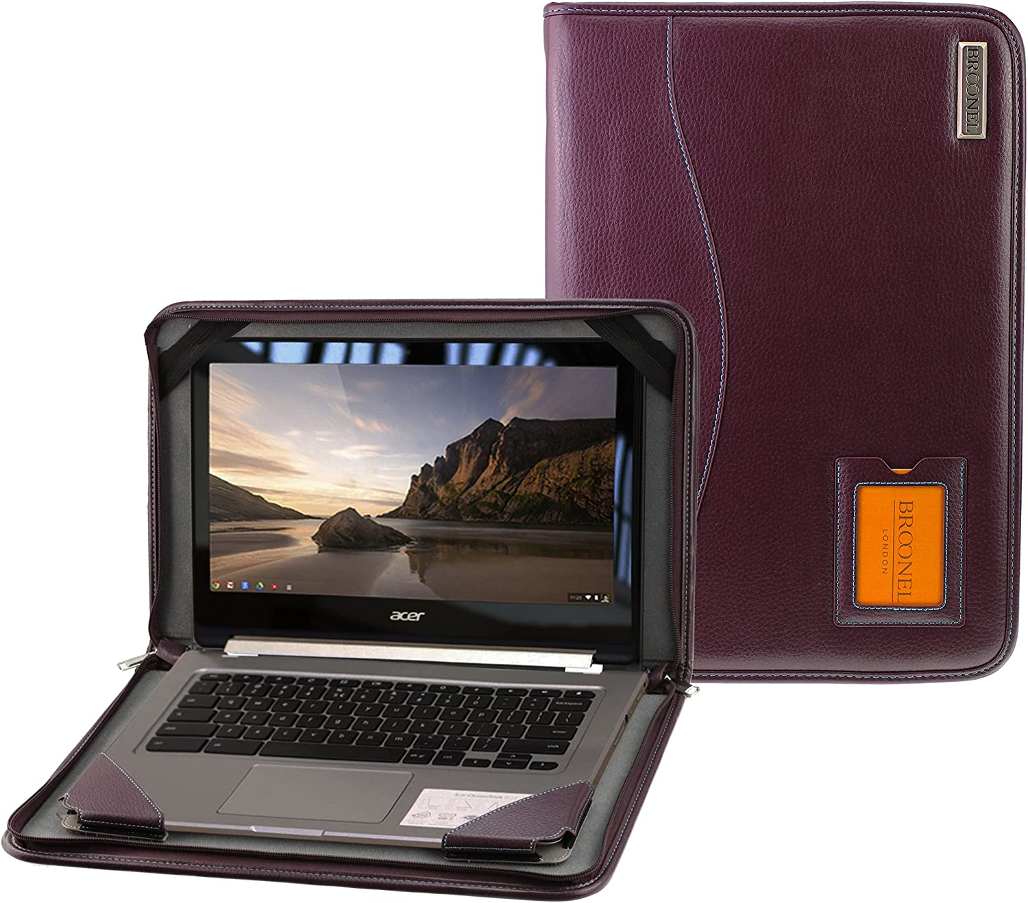 Broonel - Contour Series - Purple Heavy Duty Vegan Leather Protective Case Cover Compatible with The Acer Chromebook R13