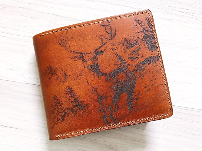 31c72e31e5 Amazon.com: Deer forest leather handmade men wallet bifold slim Personalized  customization gifts engraving: Handmade