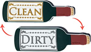 Wine Bottle Clean Dirty Premium Dishwasher Magnet Sign, Double Sided Flip Indicator, Strong Surface Safe Magnet, Soft Kitchen Dish Magnet