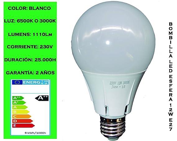Tubombiled - Bombilla LED Esfera 12W E27 Luz Fría o Luz Cálida (El paquete contiene