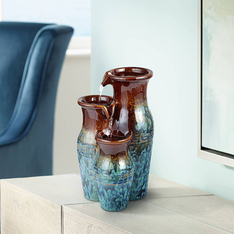 "John Timberland Mediterranean Jar Zen Indoor Table-Top Water Fountain 11 1/2"" High Cascading for Table Desk Office Home Bedroom"
