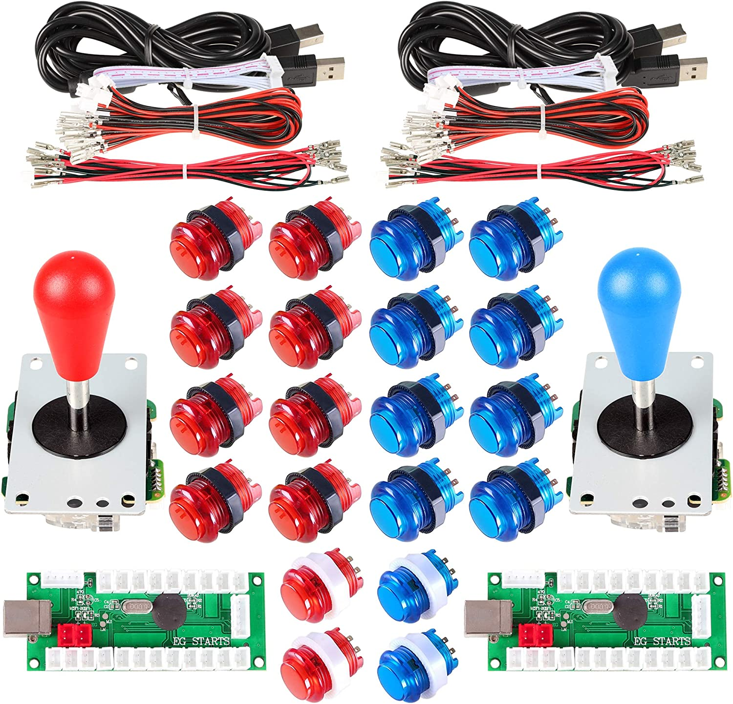 Blue and White 5V LED Illuminated Arcade Push Buttons Tongmisi Arcade DIY LED Kit with Zero Delay USB Encoder to PC Arcade Games 8 Way Joystick