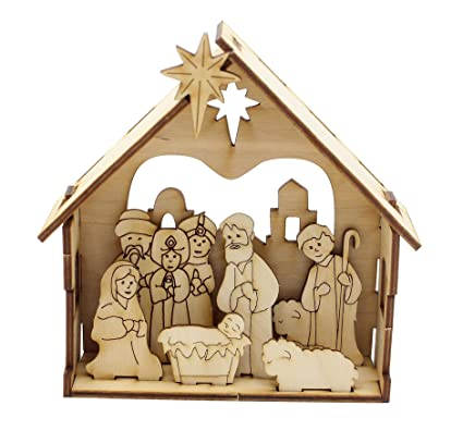 Amazoncom Natural Wood Diy Nativity Home Kitchen