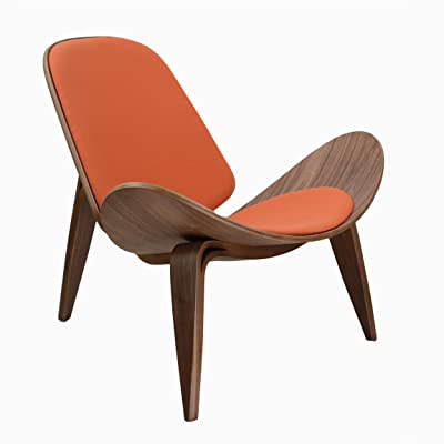 Design Tree Home Hans Wegner Shell Chair Replica, Walnut Plywood And Orange  Upholstery