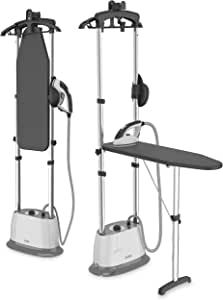 Pure Enrichment PureSteam Duo Iron and Pressurized Garment Steamer - Heavy Duty 1600-Watt Power with 1 Liter Water Tank, Built-in Ironing Board, and Deluxe Garment Hanger with Clips