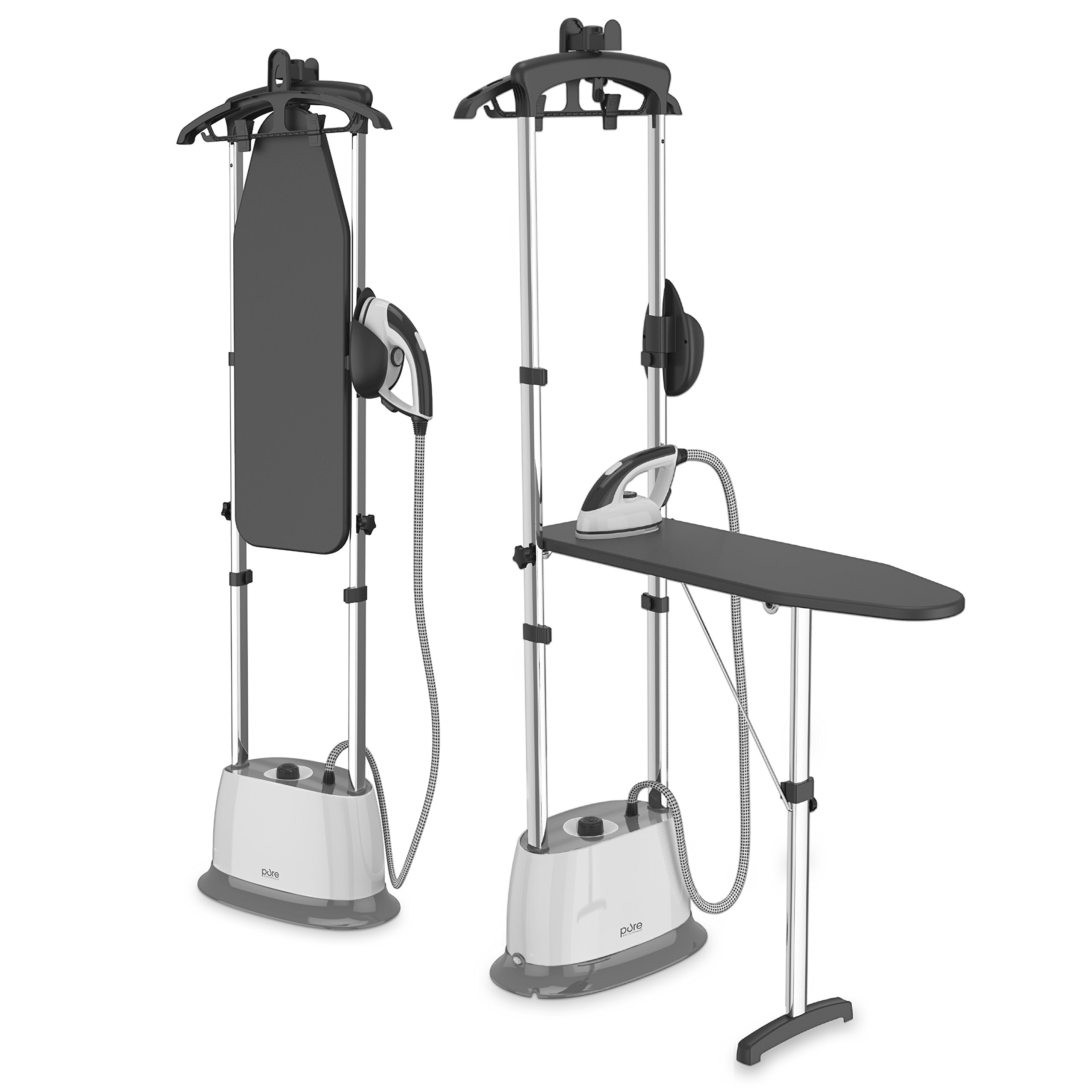 PureSteam Duo Iron & Pressurized Garment Steamer – Heavy Duty 1600-Watt Power with 1 Liter Water Tank, Built-In Ironing Board, and Deluxe Garment Hanger with Clips by Pure Enrichment