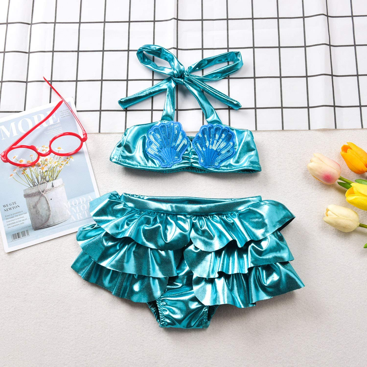 Baby Girl Bikini Toddler Meimaid Swimsuit Two Piece Halter Swimwear Bathing Suit