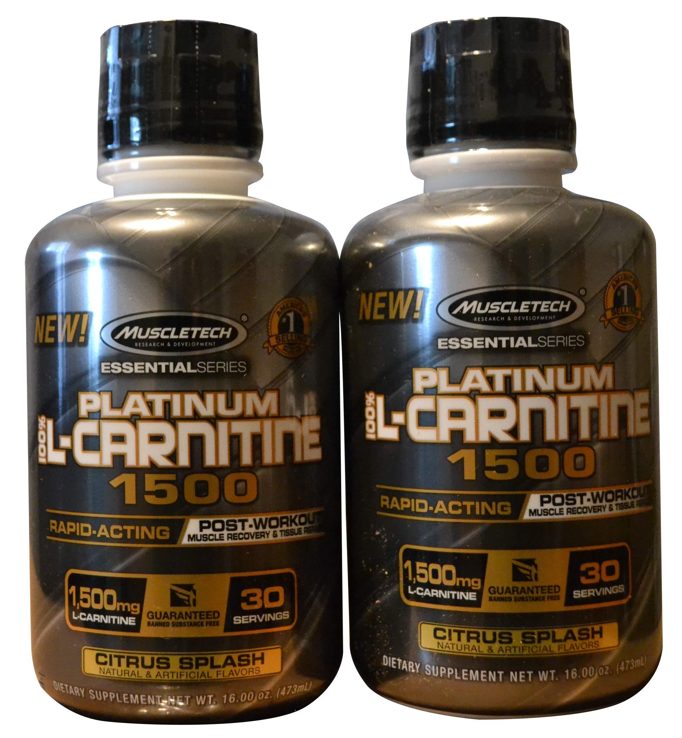 MuscleTech Essential Series 100%, L-carnitine Citrus Splash (2 Pack) 32 Ounces by MuscleTech