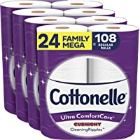 Cottonelle Ultra ComfortCare Toilet Paper with Cushiony CleaningRipples, 24 Family Mega Rolls, Soft Bath Tissue (24…