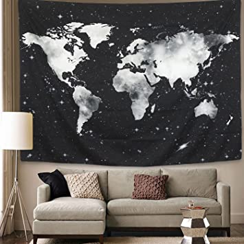 Amazon world map tapestry wall hanging starry world tapestry world map tapestry wall hanging starry world tapestry black and white map tapestry for living room gumiabroncs Images