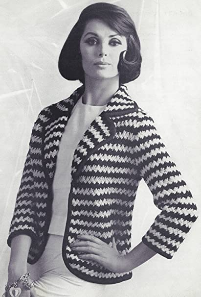 Amazon com: Vintage Knitting PATTERN to make - Two Color Stripe