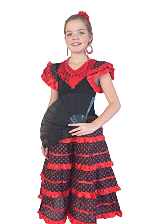 ad175af5c La Senorita Spanish Flamenco Dress - Girls / Kids - Black Red new (Size 2 -  length 60 cm -1/2 years, black red): Amazon.co.uk: Clothing