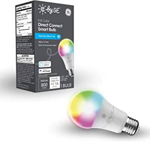 C by GE Full Color Direct Connect Smart LED Bulb (1 A19 Color Changing Light Bulbs), 60W Replacement, 1-Pack, Bluetooth/Wi-Fi Light Bulb, Smart Light Bulb Works With Alexa + Google Home without Hub