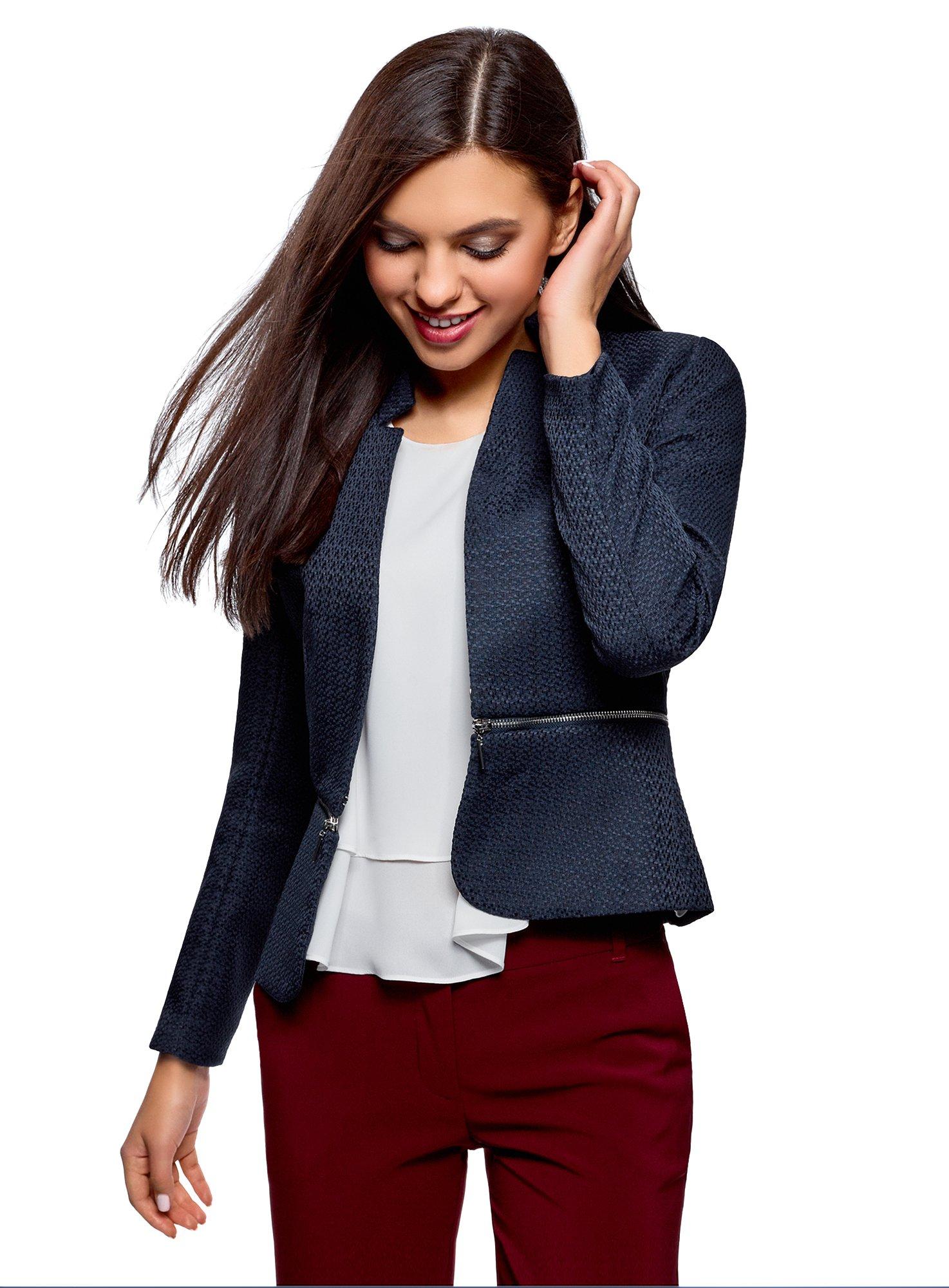 oodji Ultra Womens Transformer Blazer with Removable Hem Suit Jackets & Blazers