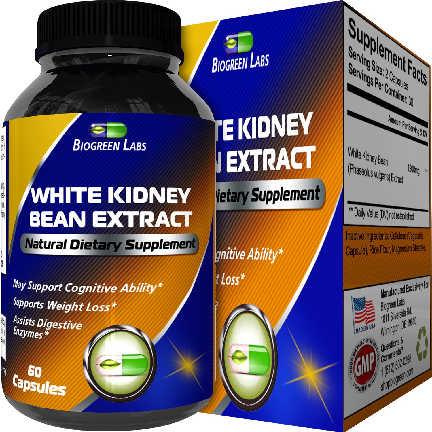 Pure White Kidney Bean Extract Supplement for Weight Loss - Phase 2 Natural Appetite Suppressant + Carbohydrate Blocker Blood Sugar Support - Fat Loss Capsules for Women & Men