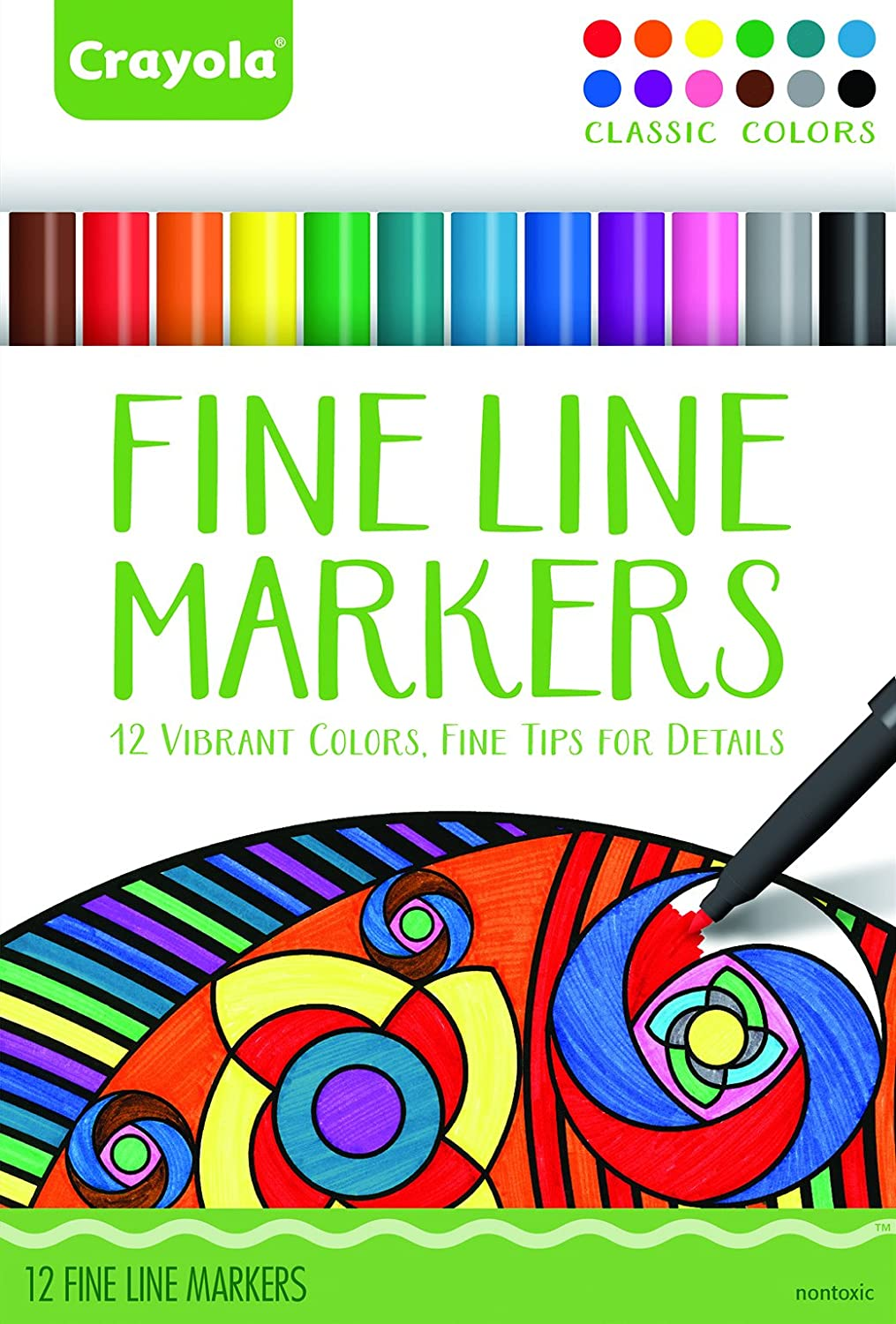 Amazon.com: Crayola 58-7713 Fineline Markers 12 Vibrant Colors with ...