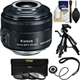 Canon EF-S 35mm f/2.8 Macro IS STM Lens with Built-in Macro Lite with 3 Filters + Macro Tripod + Kit