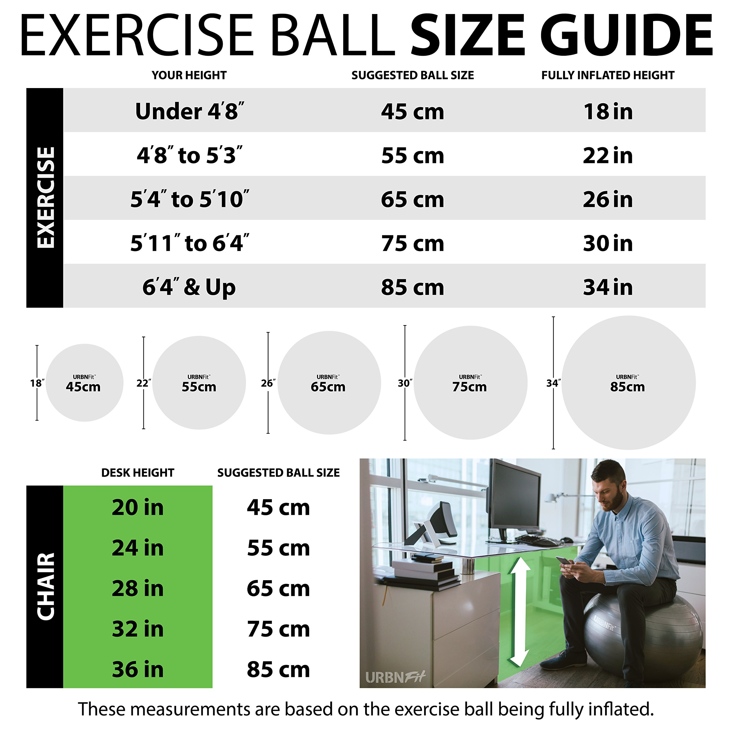 URBNFit Exercise Ball (Multiple Sizes) for Fitness, Stability, Balance & Yoga - Workout Guide & Quick Pump Included - Anit Burst Professional Quality Design (Green, 55CM) by URBNFit (Image #3)