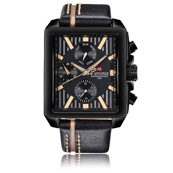 Naviforce reloj analógico cuarzo negocio de la watch-men Classic estilo Vintage cuarzo reloj de