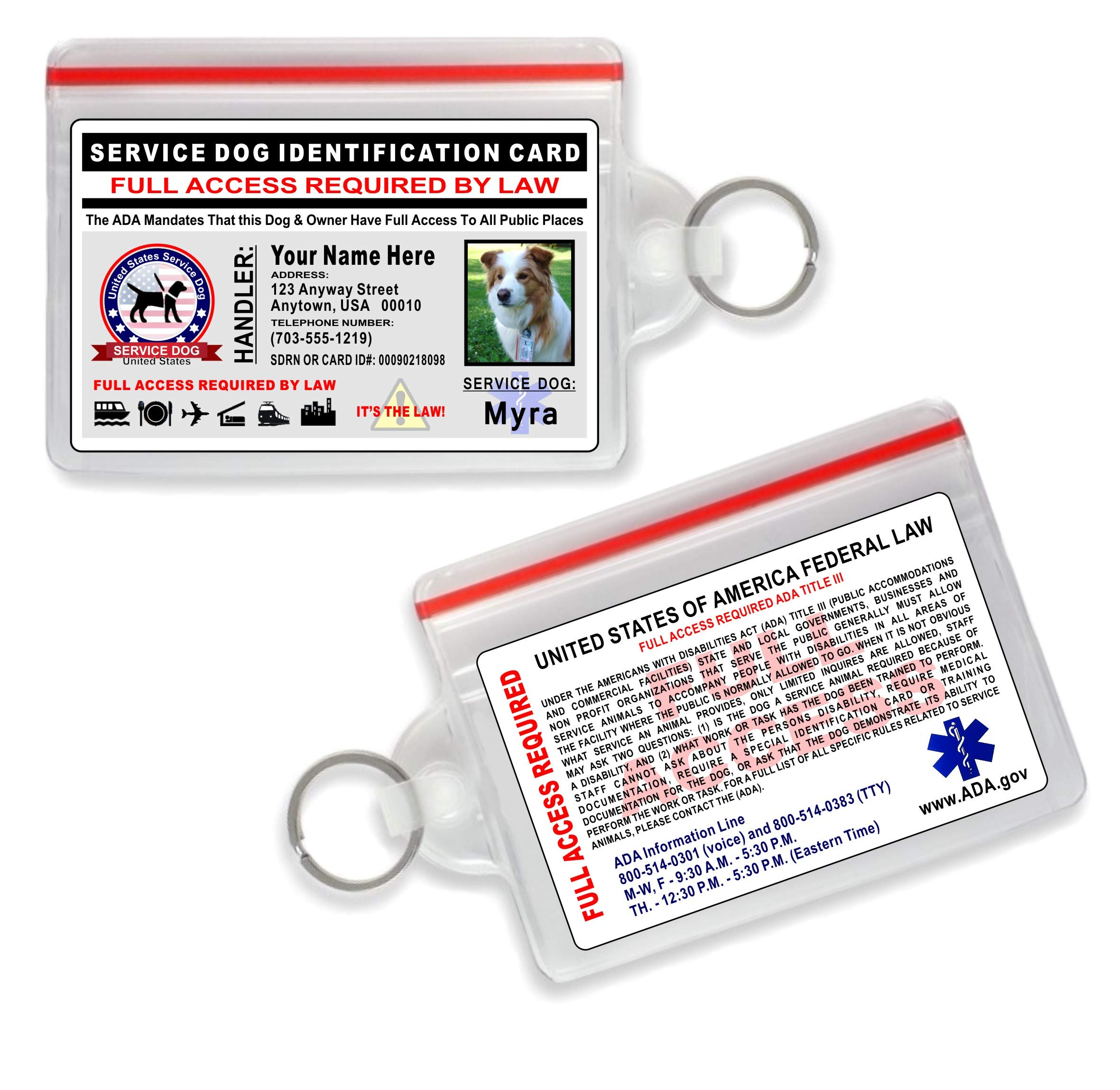 Service Dog ID Card - Holographic Card - Custom with Dogs Photo and Your Info