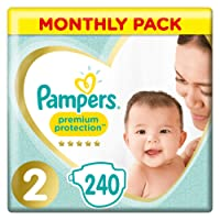 Pampers Premium Protection New Baby Size 2, 240 Nappies, (4-8 kg)/(3-6kg), Monthly Pack
