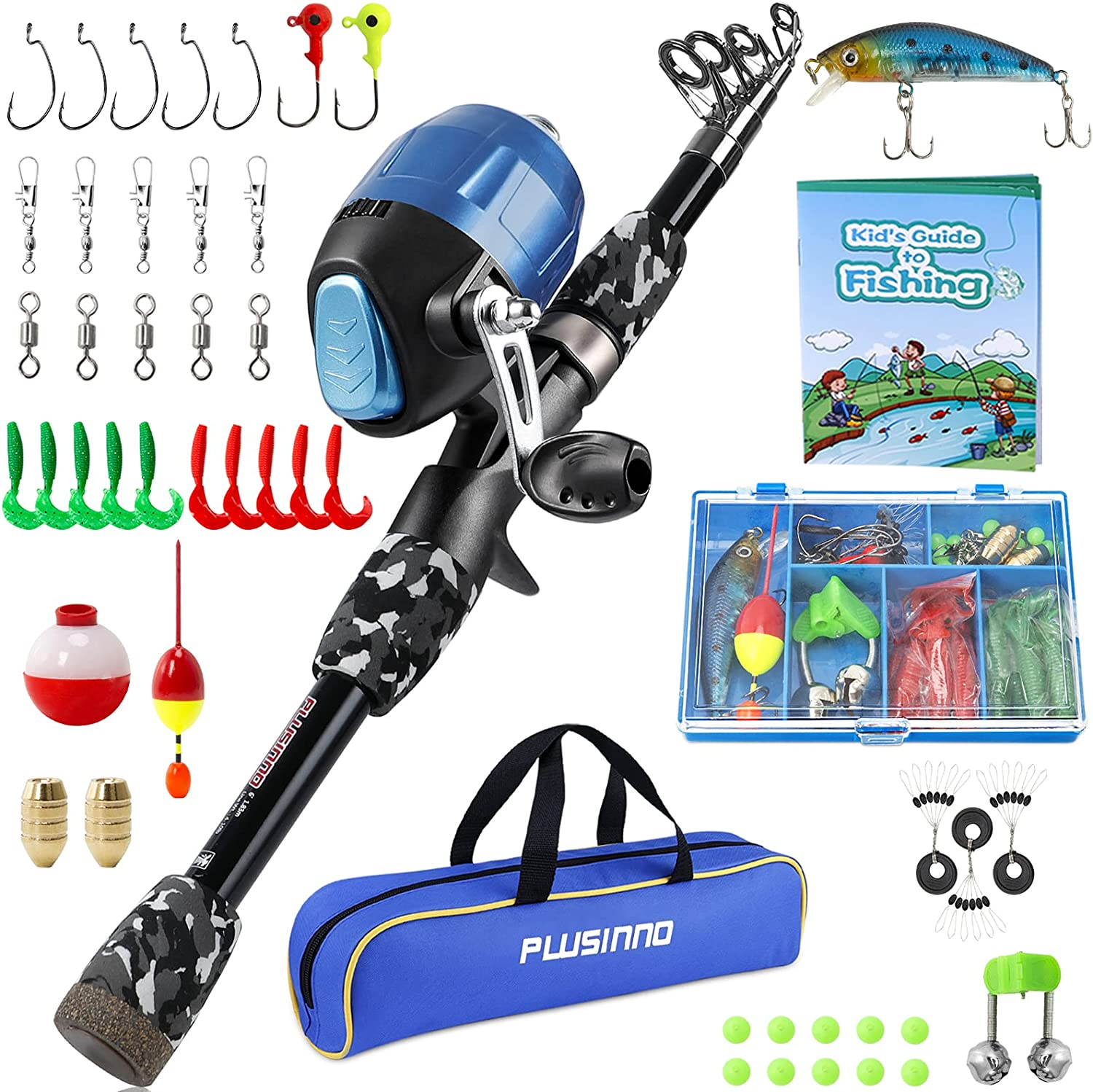 Kids Fishing Pole with Spincast Reel Telescopic Fishing Rod Combo Full Kits for