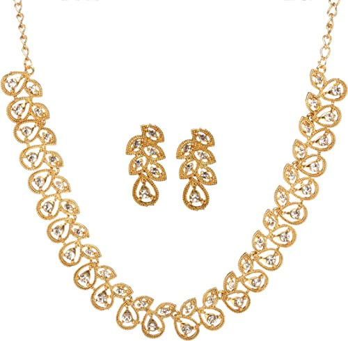 Vintage Necklace Earrings Jewelry Fashion Gold Women CrystalParty Jewelry Set ^S